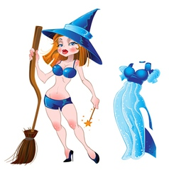 nude sexy witch and blue dress vector image vector image