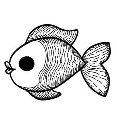 Cartoon Hand Drawn Fish vector image