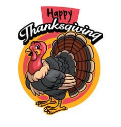 Cartoon of turkey greeting happy thanksgiving vector