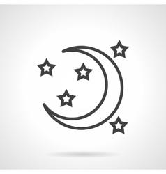 Night symbol black line icon vector image vector image
