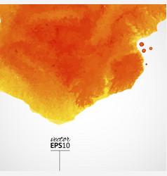 orange watercolor background with top splash vector image vector image