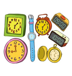 set of various watch and clock doodle color vector image vector image