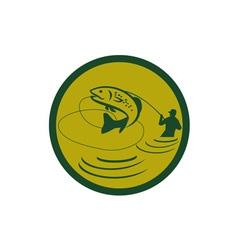 Trout Jumping Fly Fisherman Circle Retro vector image