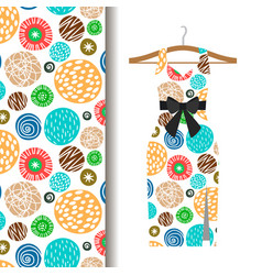 women dress fabric pattern with dots vector image vector image