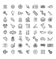 Car parts line icons set vector image