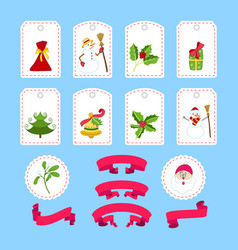 cute cartoon christmas sticker and ribbon vector image