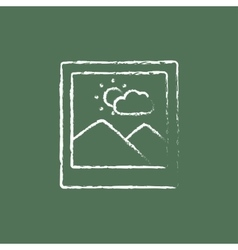 Picture icon drawn in chalk vector