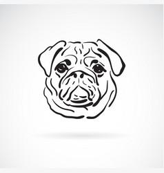 pug dog face on white background pet animals vector image