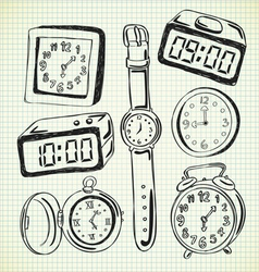 set of various watch and clock doodle vector image