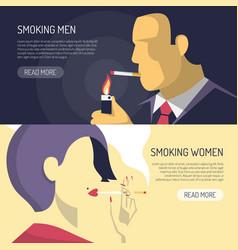 Smoking men women 2 banners vector