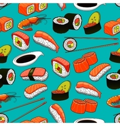 Sushi and rolls seamless pattern background vector image