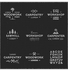 Vintage woodwork logotypes vector image vector image