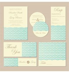 wedding cards blue vector image vector image