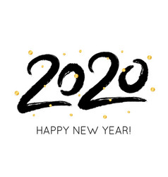 2020 happy new year with gold glitter confetti vector image