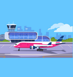 airport terminal cartoon transport hub vector image