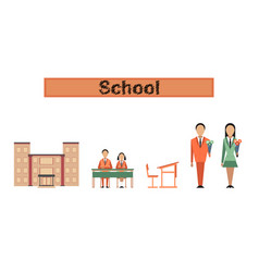 Assembly flat icons school building vector