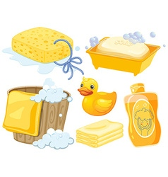 Bathroom set in yellow color vector image