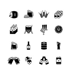 beer and brewing icons set brewery bottle vector image
