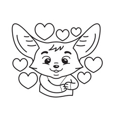 black and white cute enamoured fennec fox some vector image