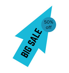 blue big sale sticker in the form of an arrow vector image