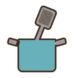 Blue pot grilled spatula cooking kitchenware vector