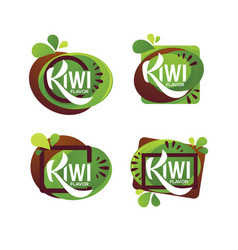 bright sticker emblem and logo for kiwi fruit vector image