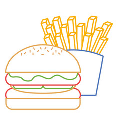 burger and french fries fast food vector image