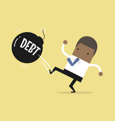 Businessman kicking debt bomb ball vector