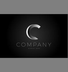 C black white silver letter logo design icon vector