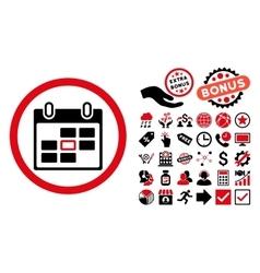 Calendar Day Flat Icon with Bonus vector