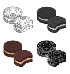 chocolate sandwich cookies icon in cartoon style vector image