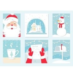 Christmas and Winter Holidays Cards Santa vector image
