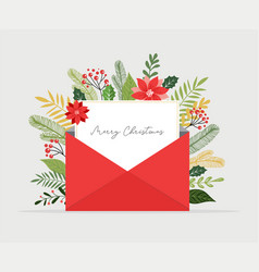Christmas letter coming out envelope blank vector