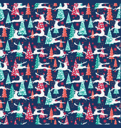 christmas pattern - xmas trees deers and vector image