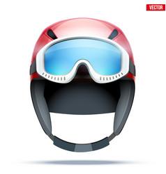 Classic ski helmet with goggles vector