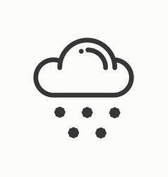 cloud sky snow line simple icon weather symbols vector image