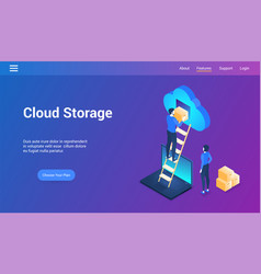 cloud storage isometric design concept vector image