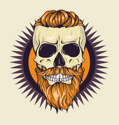Color angry skull with hairstyle vector