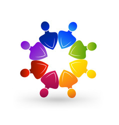 Colorful people teamwork group multi-colored vector