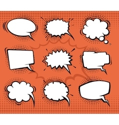 Comic speech bubbles funny balloons with halftone vector image
