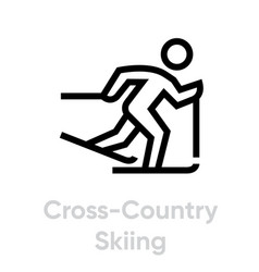 Cross country skilling sport icons vector