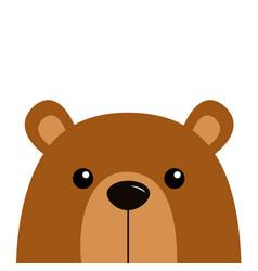 cute bear grizzly funny head face kawaii cartoon vector image