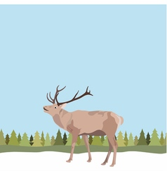 Deer with antler on seamless background tree vector