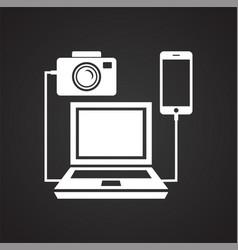 Digital camera computer connecting icon on black vector