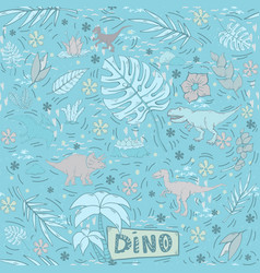 dinosaur seamless pattern on a blue tones vector image