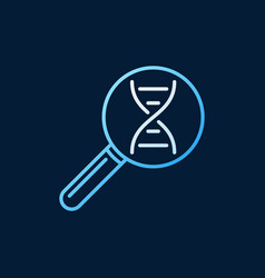 Dna in magnifier colored line icon vector