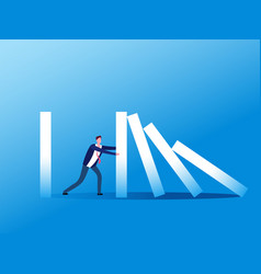 domino effect businessman stopping falling domino vector image