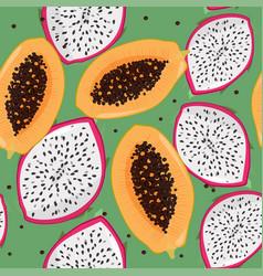 Dragonfruit pitaya pitahaya and papaya bright vector