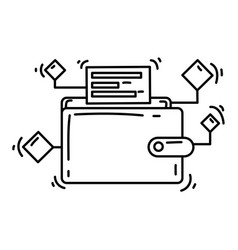 e-commerce digital wallet icon hand drawn icon vector image