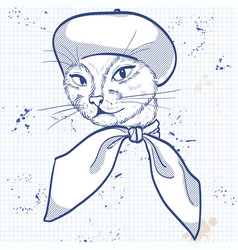 Elegant woman with cats head vector